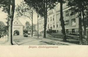 norway norge, BERGEN, Handelsgymnasium, Tram (1905)