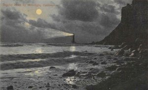 Beachy Head by Moonlight, Eastbourne, England Lighthouse c1910s Vintage Postcard