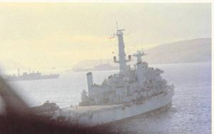 Spearhead of the British Task Force at anchor in San Carlos Bay, 50-70s