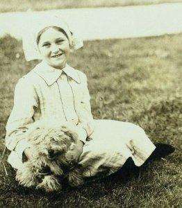 Circa 1910 RPPC Cute Young Nurse With her Cute Fluffy Dog Adorable Postcard P34