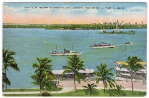Yachts At Anchor In Biscayne Bay, Looking Toward Miami, Florida