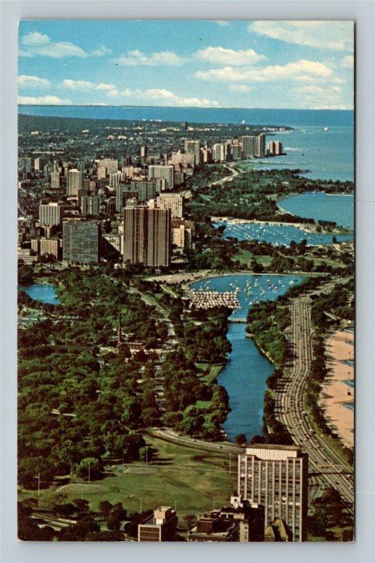 Chicago IL, Aerial View Of The North Shore, Chrome Illinois Postcard