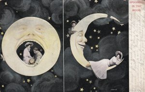 Spooning in the Moon, Full Moon & Crescent, Couple, PU-1908