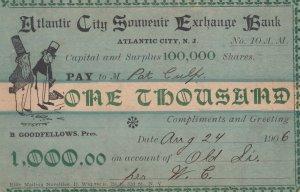 ATLANTIC CITY, New Jersey, PU-1906 ; Comic Check