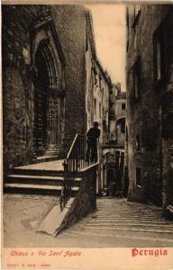 CPA Perugia Chiesa e Via Sant'Agata . ITALY (546827)