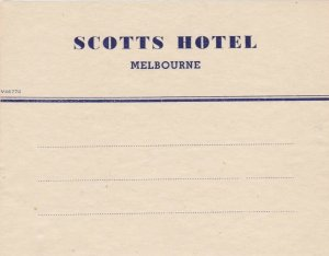 Australia Melbourne Scotts Hotel Vintage Luggage Label sk3763