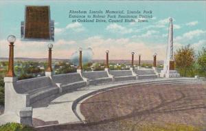 Iowa Council Bluffs Abraham Lincoln Memorial Lincoln Park Entrance Curteich