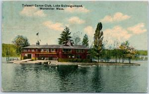 Worcester, Massachusetts Postcard Tolassit Canoe Club, Lake Quinsigamond 1911