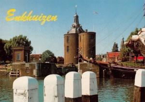 Netherlands Gezicht op de Drommedaris Boat Bateau Enkhuizen