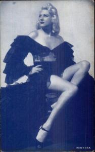 Sexy Burlesque Showgirl Semi-Nude 1920s-30s Arcade Exhibit Card Blue Tint #7