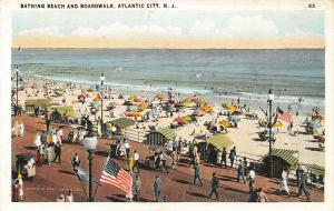 Atlantic City NJ~Bathing Beach Umbrellas~US Flag on Boardwalk~1920s Fred Hess PC