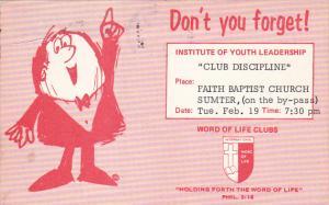Youth Leadership Club Disciplane Notice , Faith Baptist Church , SUMTER , S...