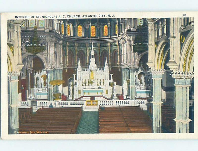 Unused W-Border CHURCH SCENE Atlantic City New Jersey NJ A8309