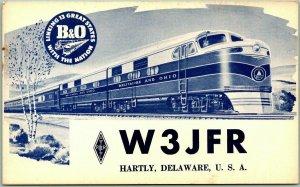 HARTLY, Delaware QSL / Amateur Radio Postcard w/ BALTIMORE & OHIO Railroad Train