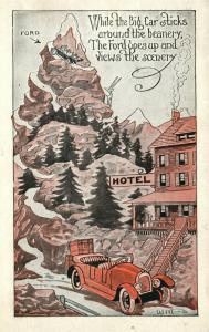 FORD CAR in MOUNTAINS COMIC 1935 VINTAGE POSTCARD automobile