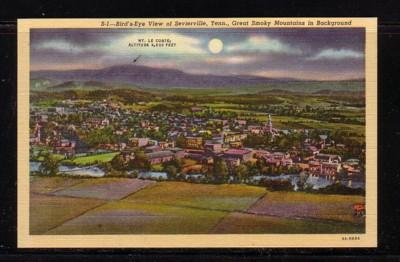Tennessee colour PC Birds Eye View Sevierville Great Smoky Mountains unused