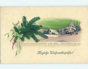 Pre-Linen Christmas foreign SNOWY CHURCH & PINE BRANCHES WITH RIBBON HL8734
