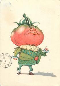Tomatoe head comic caricature soviet postcard 1957 Russia