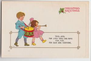 MERRY CHRISTMAS Greetings Holiday Postcard c1910 WALL Signed Drummer 106