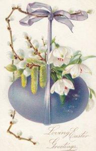 Loving EASTER Greetings , Blue-ish Egg , 00-10s ; TUCK