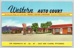 Casper Wyoming~Western Auto Court~East Side~Roadside US 20 26~1940s Linen PC
