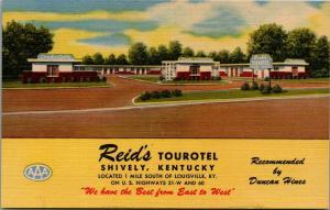 Shively Kentucky~Reid's Tourotel~Art Deco Roadside Motel~1949 Linen Postcard
