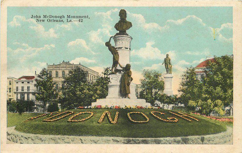 1920s McDonogh Monument New Orleans Louisiana postcard 1560