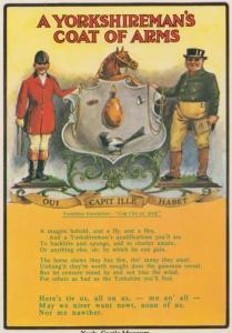 A Yorkshire York Yorkshiremans Shield Coat Of Arms Antique Christmas Postcard