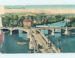 Divided-Back BRIDGE SCENE Zanesville Ohio OH H9128
