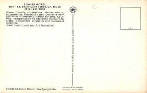South Lake Tahoe California 3 Swiss Motel Vintage Postcard JA454456