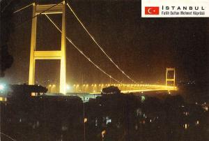 Turkey Istanbul Fatih Sultan Mehmet Koprusu Illuminated Bridge