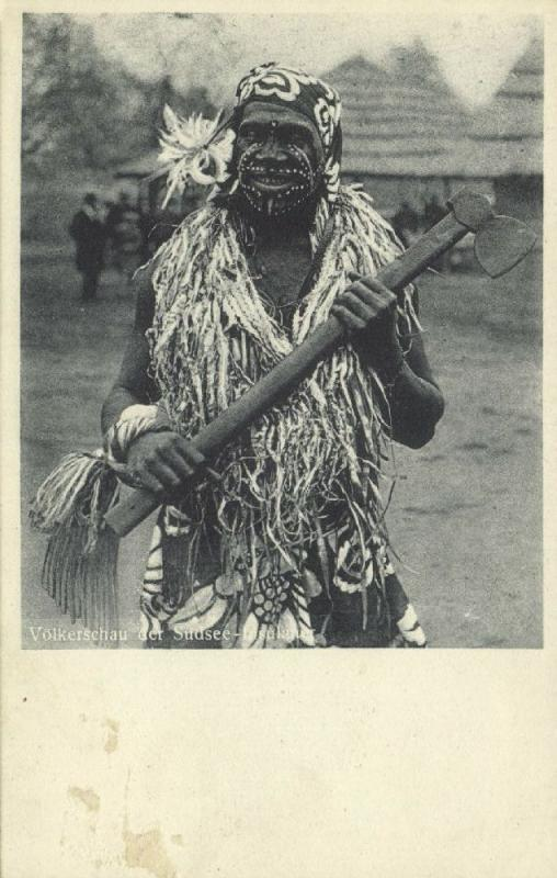 Native South Sea HEADHUNTER CANNIBAL with Axe, Facial Tattoo (1910s)