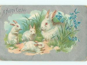 Pre-Linen Easter CUTE BUNNY RABBITS IN THE GRASS AB3473