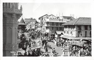 Bombay India Nall Bazar Scene Real Photo Antique Postcard (J25920)