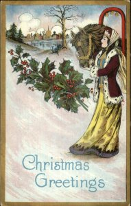 Art Deco Christmas - Beautiful Medieval Woman & Horse c1910 Postcard