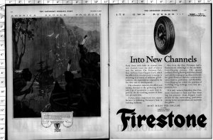 1924 Firestone Tire Native American Indians Large Vintage Print Ad 4018