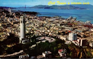 California San Francisco Coit Tower and Golden Gate From A Helicopter