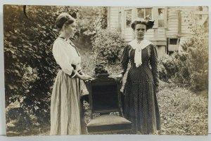 Real Photo Victorian Era Women Beautiful Updo Hair Style RPPC Postcard P11