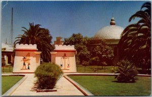 San Jose CA Linen Postcard Entrance to Rosicrucian Park Egyptian Gate c1950s