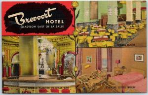 Chicago, Illinois Postcard BREVOORT HOTEL Madison East of La Salle Linen 1940s