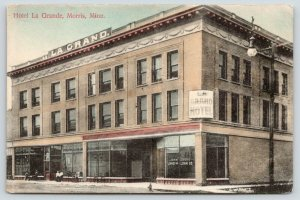 Morris Minnesota~Hotel La Grande~John Grove Land & Loan Co~1908 Handcolored PC