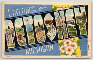 Petoskey Michigan~Large Letter Linen Postcard~Indian Canoe~Ice Skaters~1937