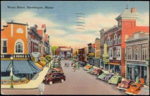 Skowhegan, Maine, Water Street, Shops, Cars (1954) Stamps