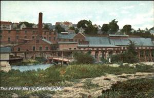 Gardiner ME Paper Mills c1910 Postcard