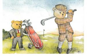 Post Card comic / golf  FORE!  Enterprise Teddies ET 3/90