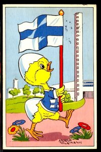 1952 Summer Olympics Helsinki Humorous Dressed Duck in Front of the Stadium
