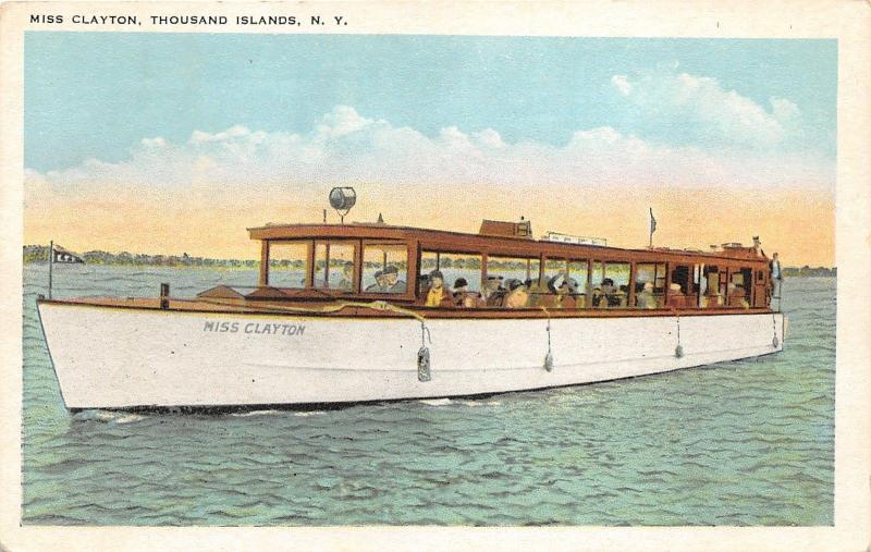 Thousand Islands New York~Passengers Cruise Yacht Miss Clayton~c1920s Postcard
