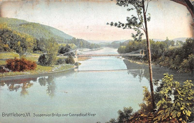 Brattleboro Vermont~Suspension Bridge over Connecticut River~c1910 Postcard