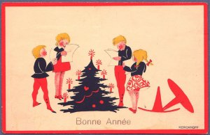 1932 New Year Postcard Christmas Tree Singing Children by Kerckhoff