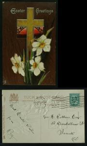 Easter series E 1704 Tuck white daffodils pmk 1909